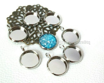 10pcs, 10mm Bezel Silver Tone Cabochon Settings Pendant Blanks Charm Charms Pendants Jewelry Findings DIY Supplies Cabochons Supply