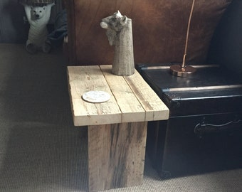 Reclaimed Wood Side Table - scaffold board