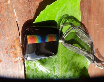 Black and Rainbow strip Dichroic Glass Necklace
