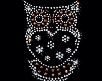 Womans LONG Sleeve Top Sparkling Rhinestone Rhinestud Stone Owl Design 15594