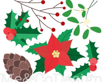 Christmas Plants Clipart, Fun Cute Clipart, holly, pinecone Instant Download, Personal and Commercial Use Clipart, Digital Clip Art
