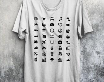 Travel Icon T-Shirt Traveller Backpacking Global World Tee Iconspeak New
