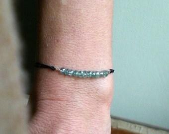 Blue zircon bracelet, stackable bracelet, natural blue zircon jewelry