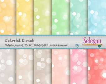 Colorful Bokeh, Digital Paper, Scrapbooking, Paper, 12x12, Printable, Lighting, Pattern, Glitter, Texture, Bokeh, Background, Download