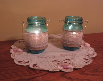 Blue Mason Jar Lanterns (Set of 2)
