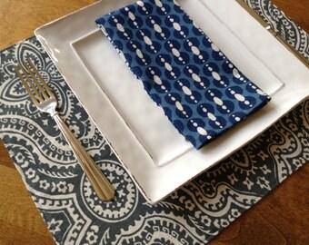 Modern Dinner Napkins,  Blue Dinner Napkins, Set of 6