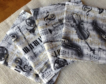 Music Napkins, Music Cloth Napkins, Symphony Napkins, Set of 6