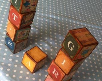 Vintage Look Building Blocks - It's a Girl/It's a Boy!