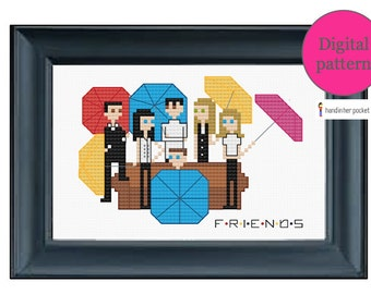 Friends: The One with the Umbrellas - Cross stitch pattern - Digital download