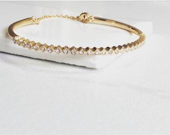 CZ Cuff Bracelet, Gold Cuff Bracelet