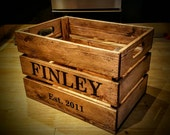 Rustic Hand Made Solid Pine Personalised Apple Crate  Toy Box  Storage