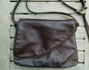 Vintage Dark Brown Leather Purse/80's Leather/Vintage Overland Purse/Real Leather Purse/Cross Body Purse/*FREE GIFT WRAP*