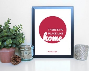 The Wizard of Oz, No Place Like Home, Film, Movies, Typography Printable, Instant Digital Download, Wall Art Print, 8x10, 11x14