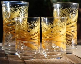Set of 4 Libbey Wheat Printed Tumblers