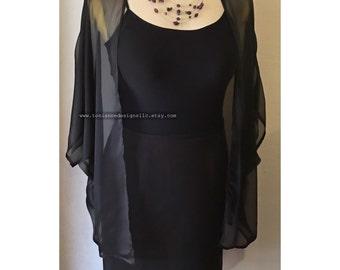 L/XL Black Chiffon Kimono Cardigan