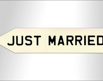 Just Married embossed wedding sign - personalised colour and text available