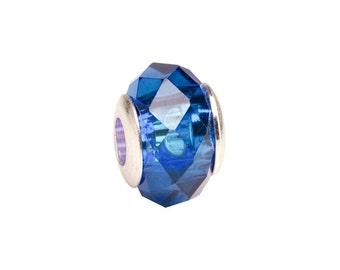 Blue diamond faceted beauty glass Pandora Style beads Fits Pandora Style Bracelet / Necklace European bead 10x13.5mm 4pcs