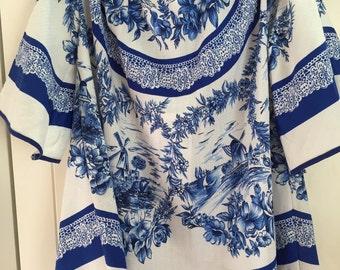 Vintage open shoulders porcelain tops/mini dress
