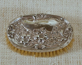 "Antique Victorian Sterling Silver Art Nouveau Repousse Floral Vanity Brush/Monogrammed ""G"" Hallmarked Collectible Silver"