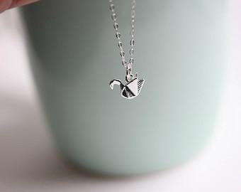 Swan Necklace - Silver Swan necklace - Silver jewellery - Origami pendant - Tiny Swan pendant - Animal jewellery