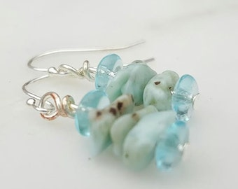 Larimar Earrings Sterling Silver Wires