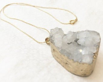 White druzy necklace with gold plated chain