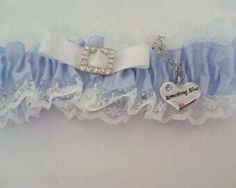 Something Blue Wedding Bridal Garter Lace Ribbon Something Blue Charm Toss Garter Wedding Garter