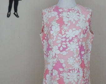 Vintage 1960's Floral Shift Dress / 60s Peck & Peck Dress L  tr