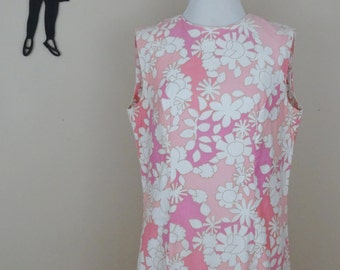 Vintage 1960's Floral Shift Dress / 60s Peck & Peck Dress L