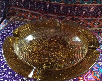 Round Vintage Amber Ashtray