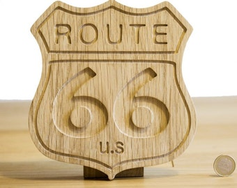 "Badge for decoration light oak ""Route 66"" in the United States."
