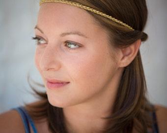 Headband chrocheted Golden mesh - handmade.