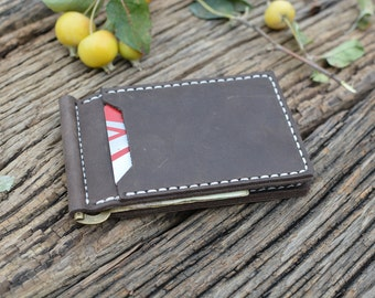 Leather money clip wallet - small wallet - money clip card holder, thin wallet