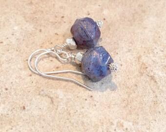 Blue drop earring, purple drop earrings, sterling silver drop earrings, dangle earrings, Czech glass earrings, Hill Tribe silver earrings