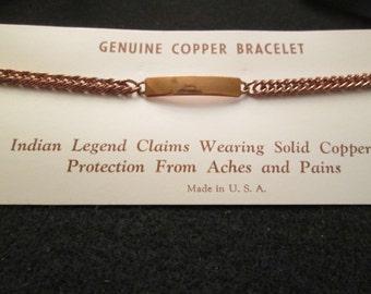 SOLID COPPER Bracelet, simple, elegant> Vintage 1960's, never worn, new