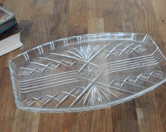 Vintage Glass Dressing Table Tray, Good Condition,Boho, Shabby Chic, Retro.Vintage Glass.
