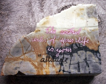 Picasso Marble Wisdom Stone with Painted on  Inspirational Quote Saying : The Control Center of your life is your  Attitude