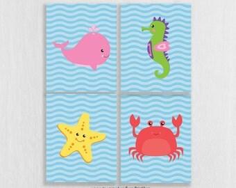 CANVAS Ocean Theme Bathroom Decor - Under the Sea Bathroom - Playroom Decor - Baby Sea Animals Nursery - Ocean Theme Nursery Decor