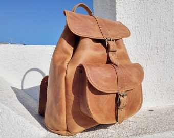Distressed Leather Backpack, Waxed Brown Full Grain Leather. Large Size Backpack, Handmade in Greece.