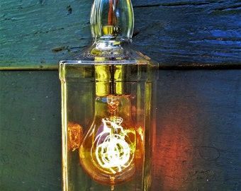 Upcycled Industrial Whiskey bottle Pendant Light Solid Copper Nickel Brass Series
