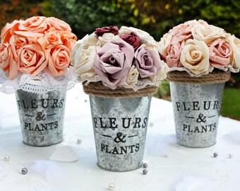 Wedding bouquet, Rustic paper flower bouquet, Handmade vintage wedding flower bouquet, Handmade table decoration, Roses bouquet