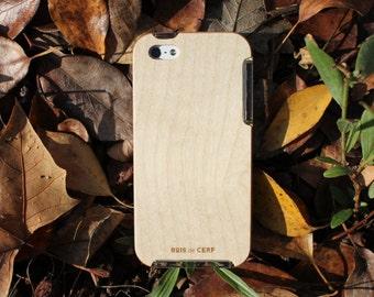 Coque en bois pour iPhone 5/5S/SE éco-conçue et fabriquée dans nos ateliers en France avec du bois français