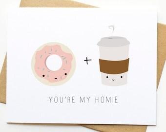 Donut Coffee Friendship Coworker Cute Kawaii Card