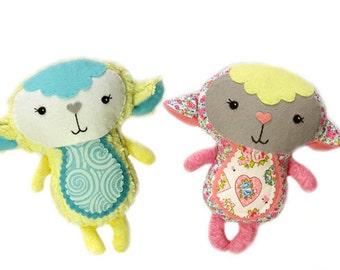 Baby Lamb PDF Sewing Pattern Stuffed Toy DIY Tutorial - Cute Sweet Baby Shower gift Plushie for boys girls