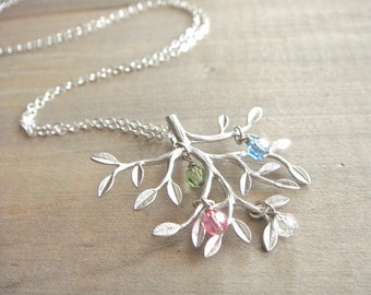 Family Tree Necklace in Silver with Birthstones - Sterling SIlver Chain - up to 9 (nine) birthstones - kids, mom, grandmother, Mother's Day