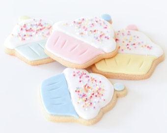 cupcake cookies, sprinkle cookies, gift for baker, afternoon tea biscuits, party favours, cake lovers gift, cupcake lovers gift