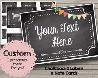 CUSTOM Chalkboard Note cards - Labels - Tags - Printable - PDF - Custom - Personalized - Printable - Showers - Birthday