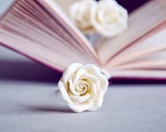 Ivory wedding hair pins, ivory hair flowers, rose flower jewelry, rose hair pins, set of 3 pins, ivory rose hair, ivory hair pins