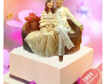 Chinese wedding cake toppers Unique wedding cake toppers Custom cake topper Bride and groom cake toppers Personalised cake topper + (Prop)