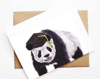 Graduation Card - Panda, Grad Card, College Graduation, High School Grad, Congrats Grad, Congrats Card, Cute Animal Card, Panda Card